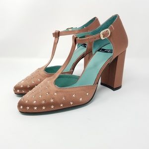 Anthropologie LAB Satin T-strap Star Studded Heels